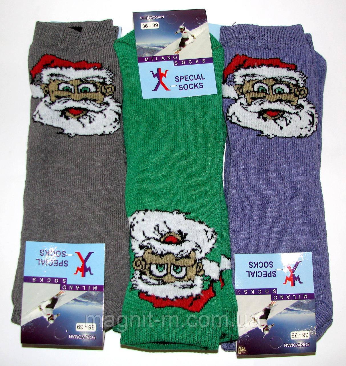 Женские теплые махровые носки MILANO SOCKS. Дед мороз. Три цвета (феолетовый,зеленый, серый)