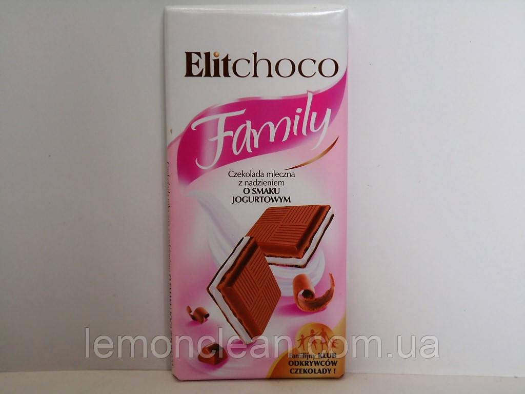 Молочный шоколад Elitchoco Family со вкусом йогурта 100г.