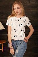 Стильная белая футболка на лето, с принтом