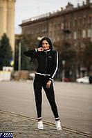 """Стильный черный  женский спортивный костюм """"филипп плейн"""" машинная вязка  Арт-15127"""