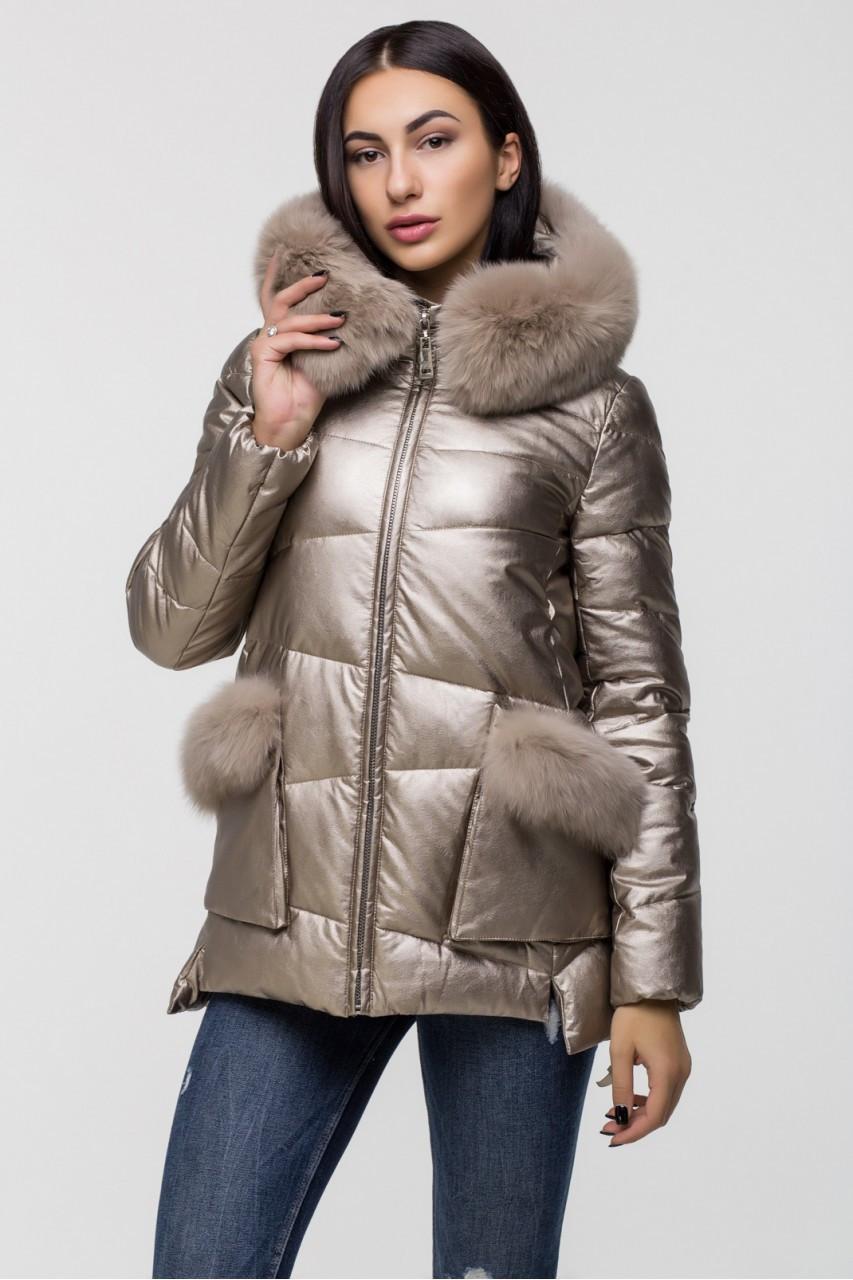Зимняя женская куртка  ZILANLIYA-17228 золотого цвета