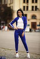 """Стильный синий женский спортивный костюм """"филипп плейн"""" машинная вязка  Арт-15127"""