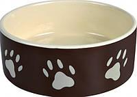 Миска керамическая для собак, кошек, грызунов, птиц (крем/коричн) d 12 см 0,3 л