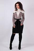 Вязаное платье Корсет песок - капучино - черный