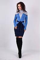 Вязаное платье Корсет серый - василек - синий