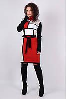 Вязаное женские платье Кубик песок - терракот - белый - черный