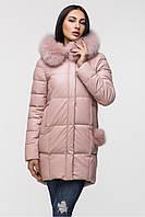Модная женская зимняя курточка (цвет-пудра)