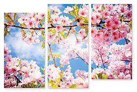 Модульная картина розовые цветки 3д