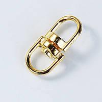Каблучку і Ланцюжок для Ключів, Цинковий сплав, Овальна, Колір: Золото, 19 мм х 9 мм, фото 1
