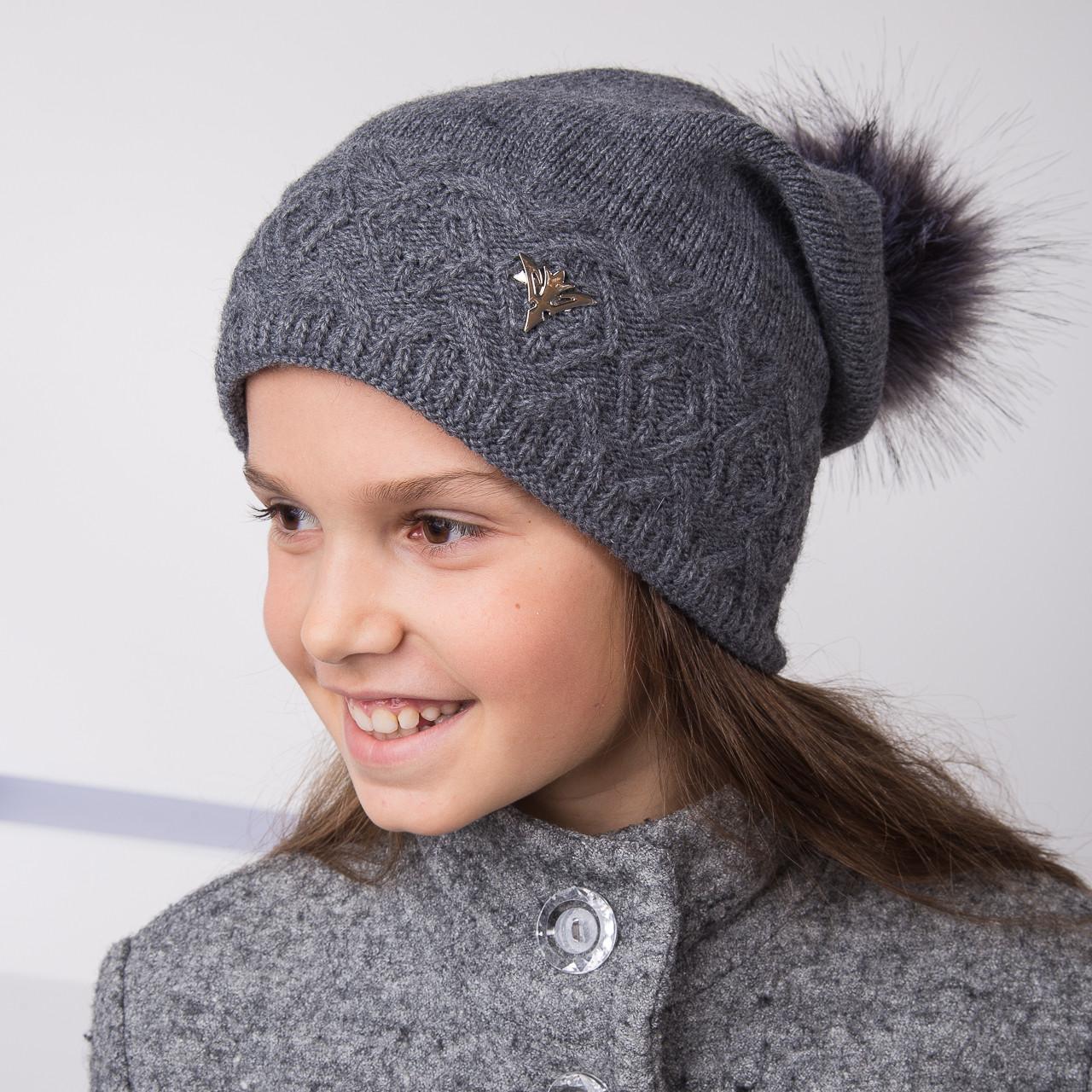 Вязанная шапка с меховым помпоном для девочек - Артикул 2140