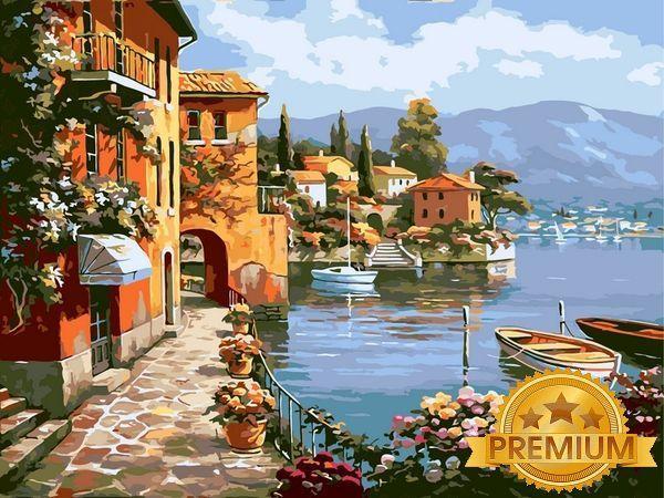 Картины по номерам 40×50 см. Babylon Premium Летняя набережная Художник Сунг Ким