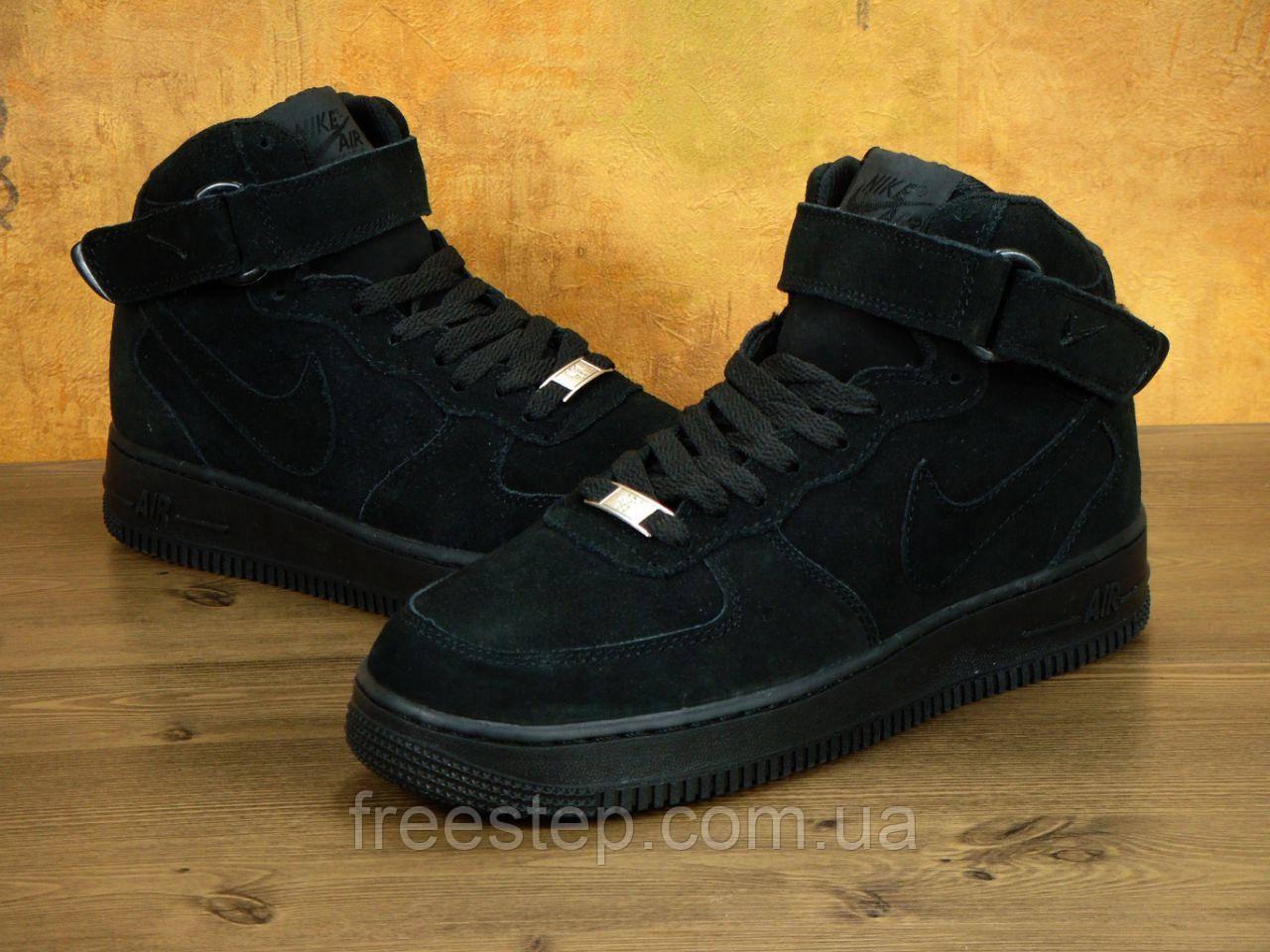 d24f6cab Зимние кроссовки в стиле NIKE Air Force 1 Mid, замша, мех, черные ...