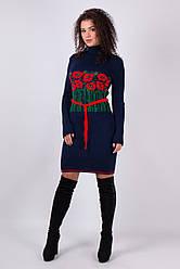 Вязаное женские платье Бамбук синий - алый - зеленый