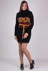 Вязаное женские платье Бамбук черный - желтый - терракот