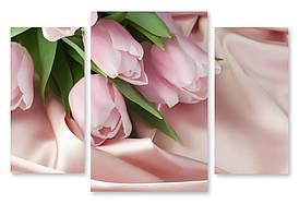 Модульна картина ніжно рожеві тюльпани