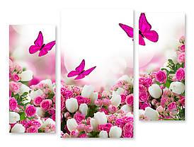 Модульная картина бабочки над цветами