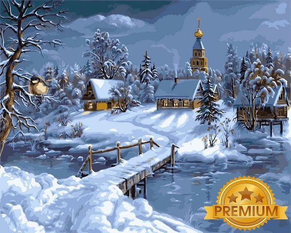 Картины по номерам 40×50 см. Babylon Premium (цветной холст + лак) Зимняя сказка Художник Виктор Цыганов