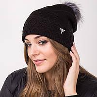 Зимняя вязанная женская шапка с меховым помпоном - Артикул 2140