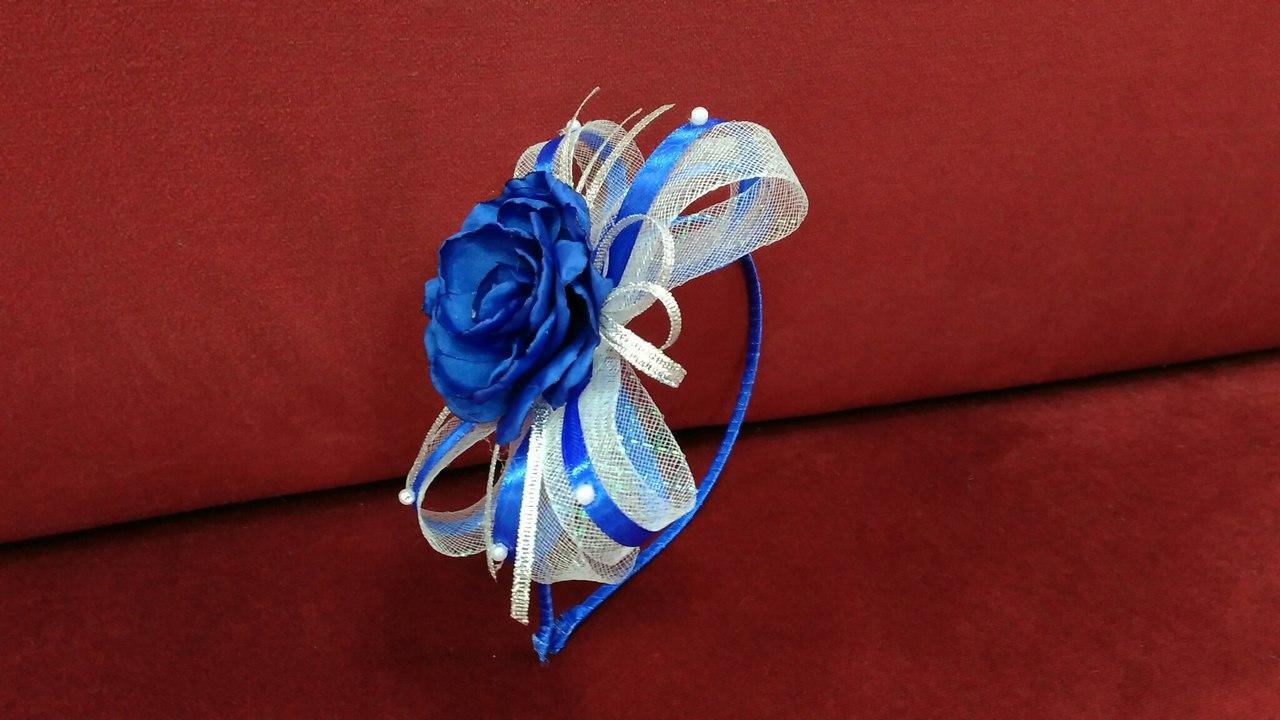 Обруч детский с бантиком и цветком синий