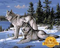 Раскраска по цифрам 40×50 см. Babylon Premium Волки на снегу Художник Джозеф Хаутман, фото 1