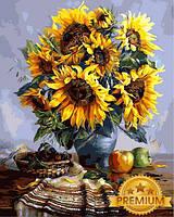 Картины по номерам 40×50 см. Babylon Premium (цветной холст + лак) Подсолнухи, фото 1