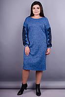 Этно. Изысканное платье плюс сайз. Голубой.