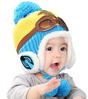 """Теплая зимняя детская шапка """"Пилот-2"""""""