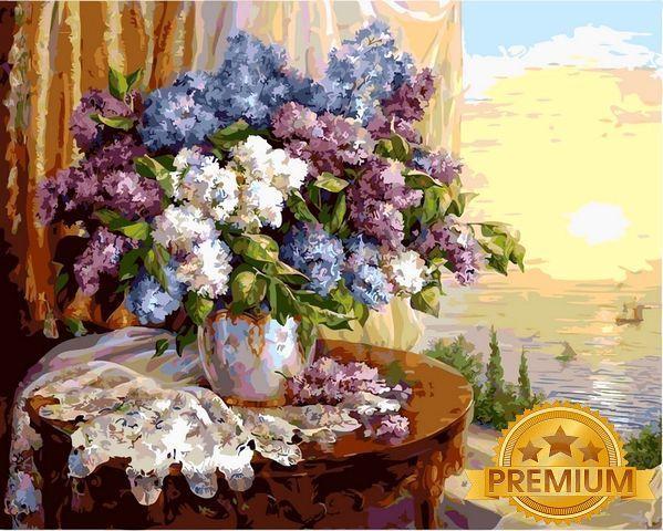 Картины по номерам 40×50 см. Babylon Premium Сирень на окне