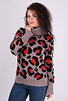 Женский теплый свитер Лёвик капучино - терракот - черный