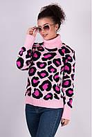 Женский теплый свитер Лёвик розовый - малина - черный