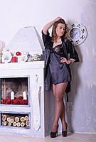 Женский черный шелковый ночной комплект