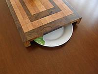 Кухонная торцевая разделочная доска с прорезом для тарелки 50х35х5,5 см Є50х35