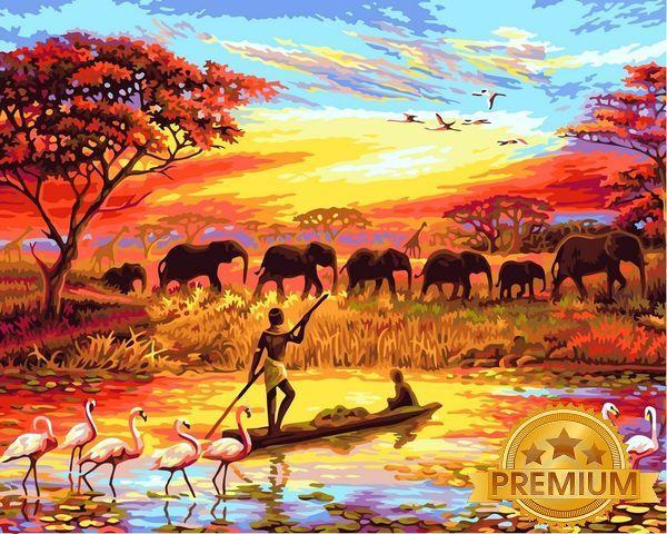 Картины по номерам 40×50 см. Babylon Premium (цветной холст + лак) Закат над Нилом