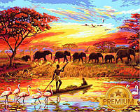 Картины по номерам 40×50 см. Babylon Premium Закат над Нилом, фото 1
