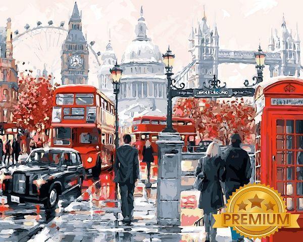 Картины по номерам 40×50 см. Babylon Premium Очарование лондона Художник Ричард Макнейл