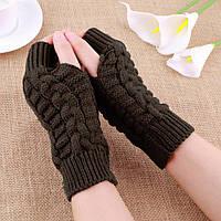 Коричневые короткие женские митенки, перчатки без пальцев 20 см