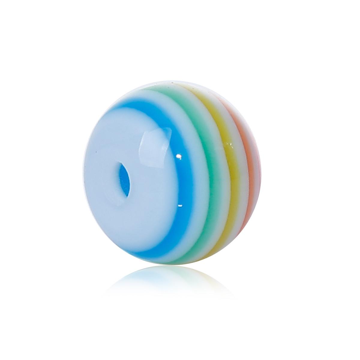 Намистина з смоли, Кругла, Синя з візерунком, З смугами, 8 мм діаметр, Отвір: приблизно 1.7 мм