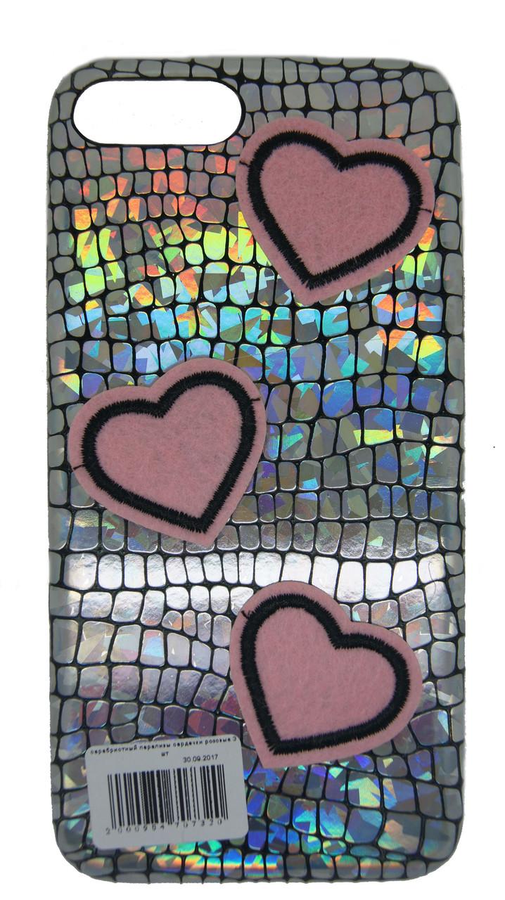 Тканевый чехол для iPhone 7 Plus / 8 Plus Серый с сердечками