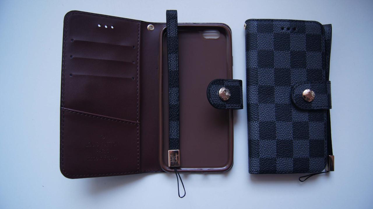 Чехол книжка для iPhone 6 / 6S VL черный с серым квадратики