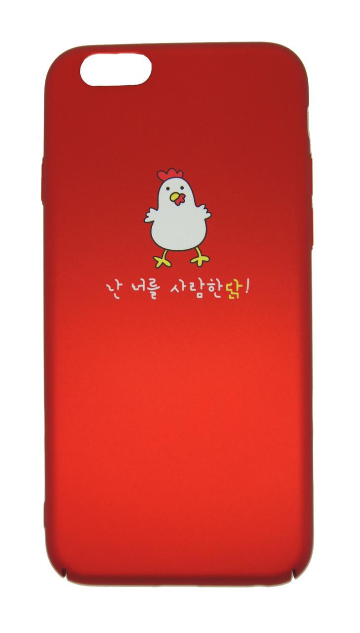 Пластиковый чехол для iPhone 6 / 6S Soft Touch Red с цыплёнком
