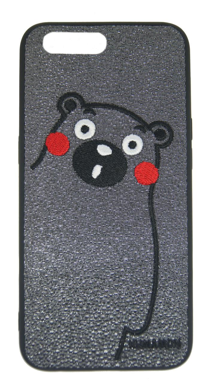 Плаcтиковый чехол для iPhone 7 Plus / 8 Plus Серый с медведем
