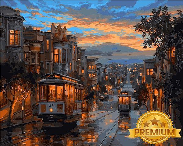Картины по номерам 40×50 см. Babylon Premium (цветной холст + лак) Последний трамвай Художник Евгений Лушпин