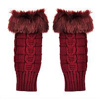 Бордовые короткие женские митенки с мехом, перчатки без пальцев 20 см