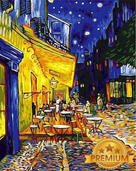 Картины по номерам 40×50 см. Babylon Premium Ночное кафе Художник Винсент Ван Гог