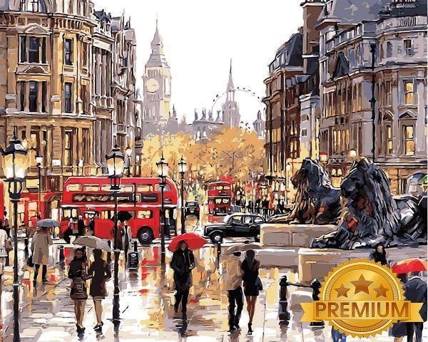 Картины по номерам 40×50 см. Babylon Premium Каменные львы