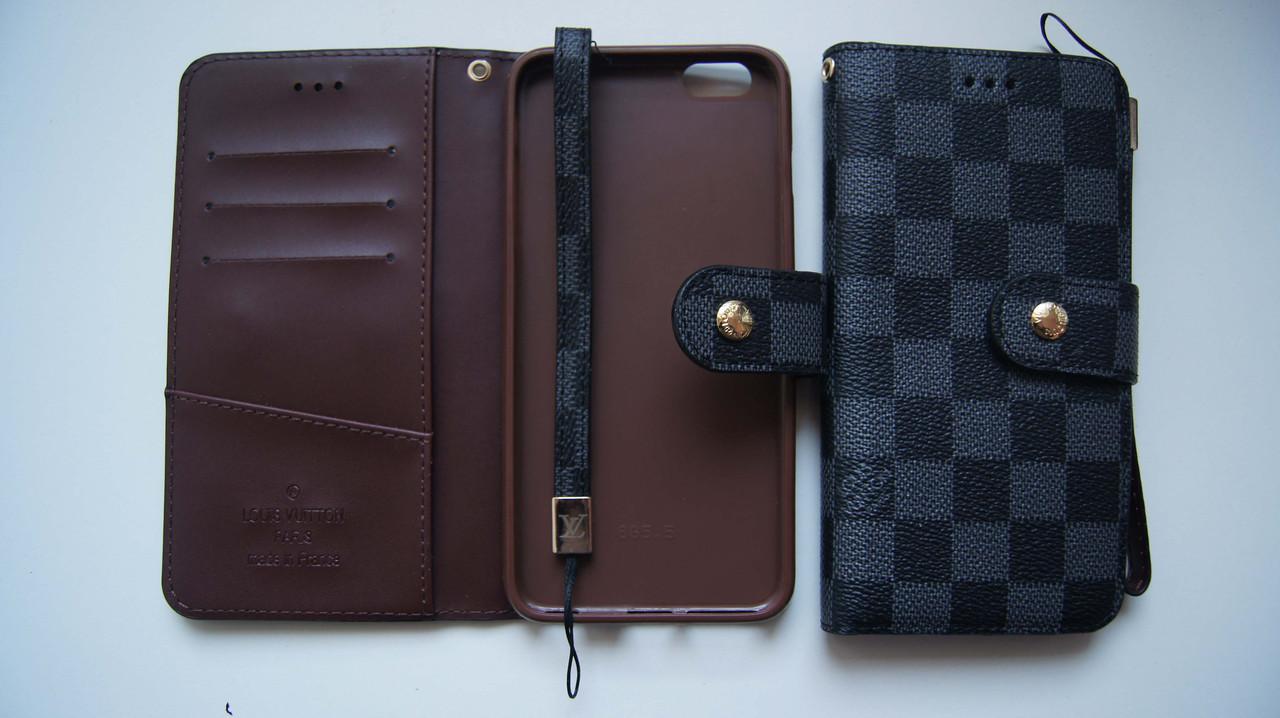 Чехол книжка для iPhone 6 Plus / 6S Plus VL черный с серым квадратики