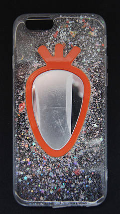 Силиконовый чехол для iPhone 6 / 6S Прозрачный с блестками и зеркалом, фото 2