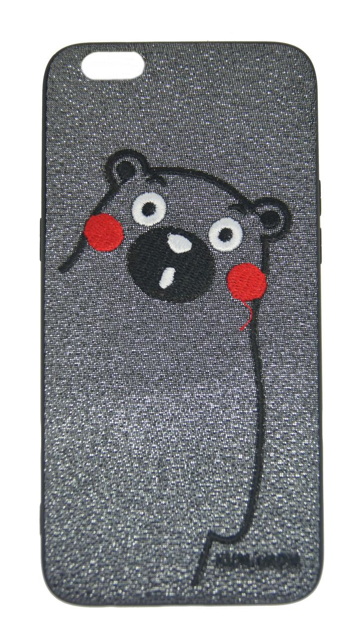 Плаcтиковая крышка iPhone 6 Plus медведь красные щеки серебристый черные бока