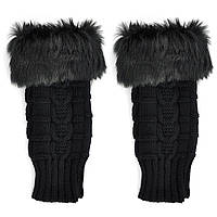 Черные короткие женские митенки с мехом, перчатки без пальцев 20 см