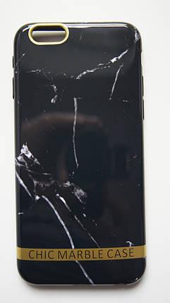 Чехол силиконовый Chic marble case для iPhone 6  / iPhone 6S черный мрамор, фото 2